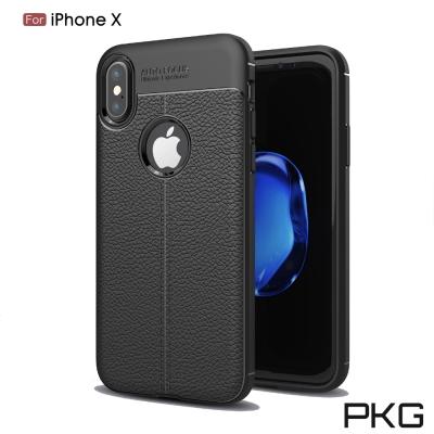 PKG  Apple IPhone X 抗震防摔手機殼-抗手紋-皮紋系列