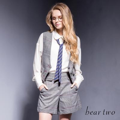 beartwo落肩剪裁條紋領帶造型雪紡上衣-二色
