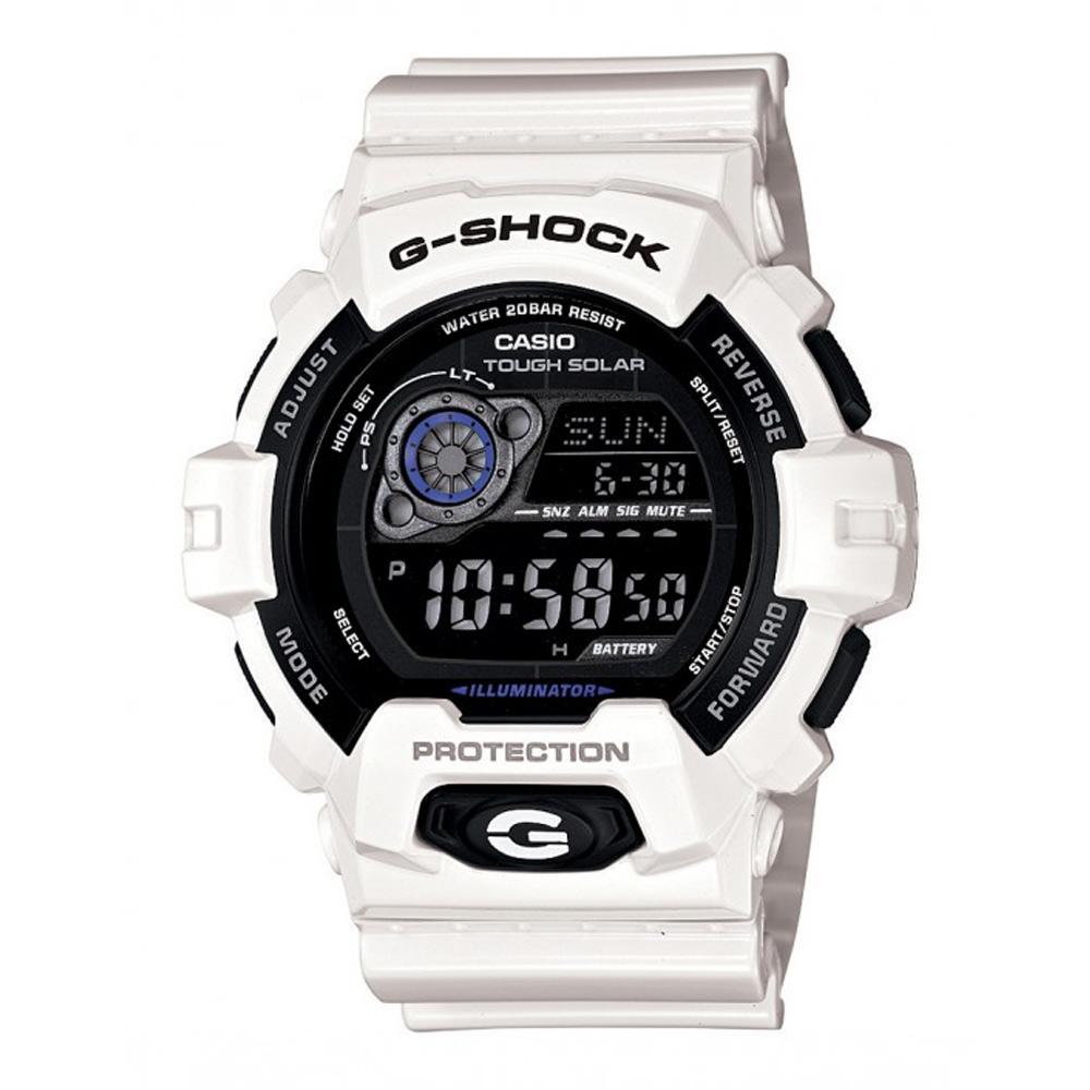 G-SHOCK 酷炫多層次超亮眼LED休閒錶-白/52.5mm