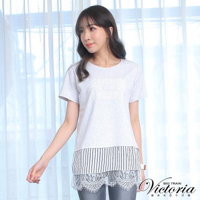 Victoria 異材質拼接長版短袖T-女-灰色