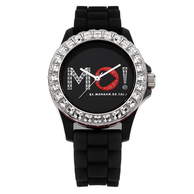 MORGAN 爵士讚歎晶鑽時尚腕錶-黑/40mm