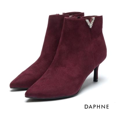 達芙妮DAPHNE 短靴-絨布V字切口鑽飾高跟踝靴-紫紅