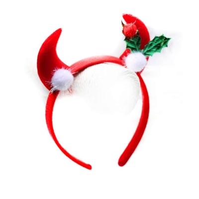 摩達客 聖誕小惡魔紅牛角髮箍