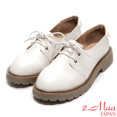 2.Maa-英式復古綁帶個性馬汀厚底鞋-白