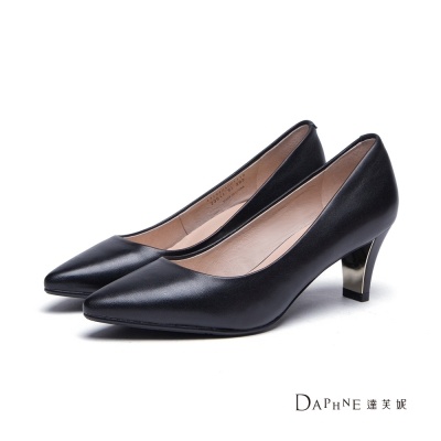 達芙妮DAPHNE-高跟鞋-尖頭純色羊皮金屬中跟鞋-黑8H