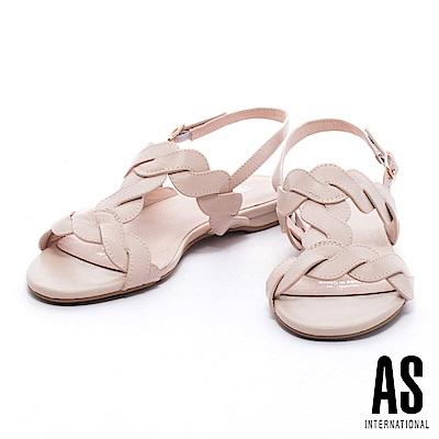 涼鞋 AS 柔美清新麻花造型工字牛皮粗低跟涼鞋-粉