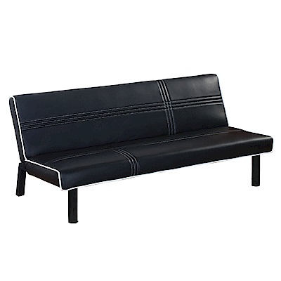 品家居 艾達菲透氣黑皮革展開式沙發床-170x86x71cm-免組