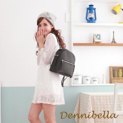 Dennibella 丹妮貝拉 -真皮斜背鑽飾後背包-黑