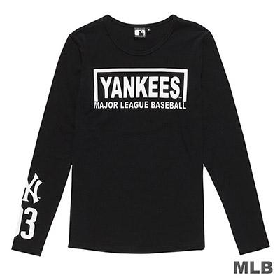 MLB-紐約洋基隊英文印花長袖T恤-黑 (女)