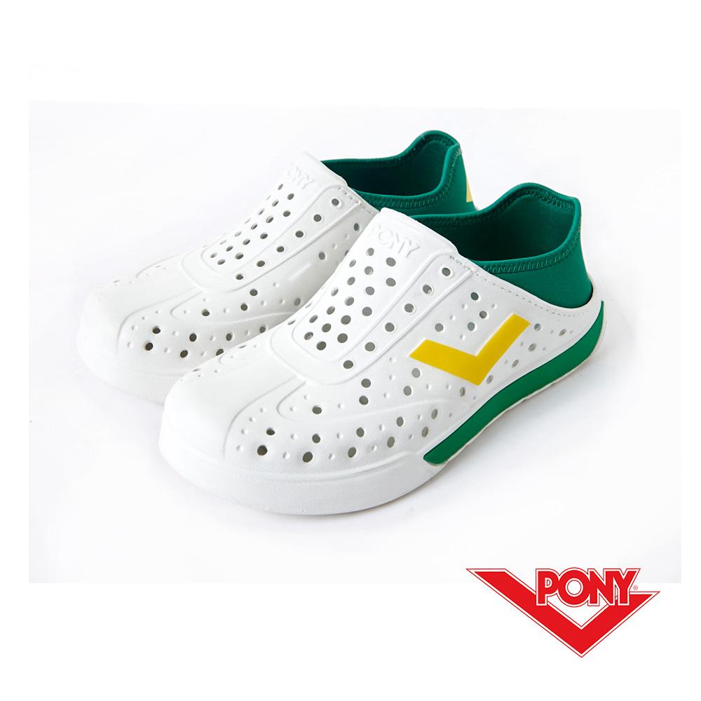 PONY ENJOY系列-輕量透氣洞洞鞋-中性-白綠巴西