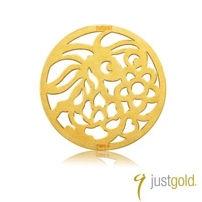鎮金店Just Gold 金幣-花開富貴金幣(兔)