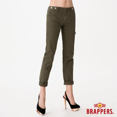 BRAPPERS 女款 Boy Firend Jeans 女用九分反摺工作褲-綠