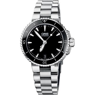 Oris豪利時 Aquis 時間之海潛水機械腕錶-黑/36mm