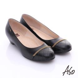 A.S.O 3E舒活寬楦 全真皮拼接菱格奈米窩心低跟鞋 黑