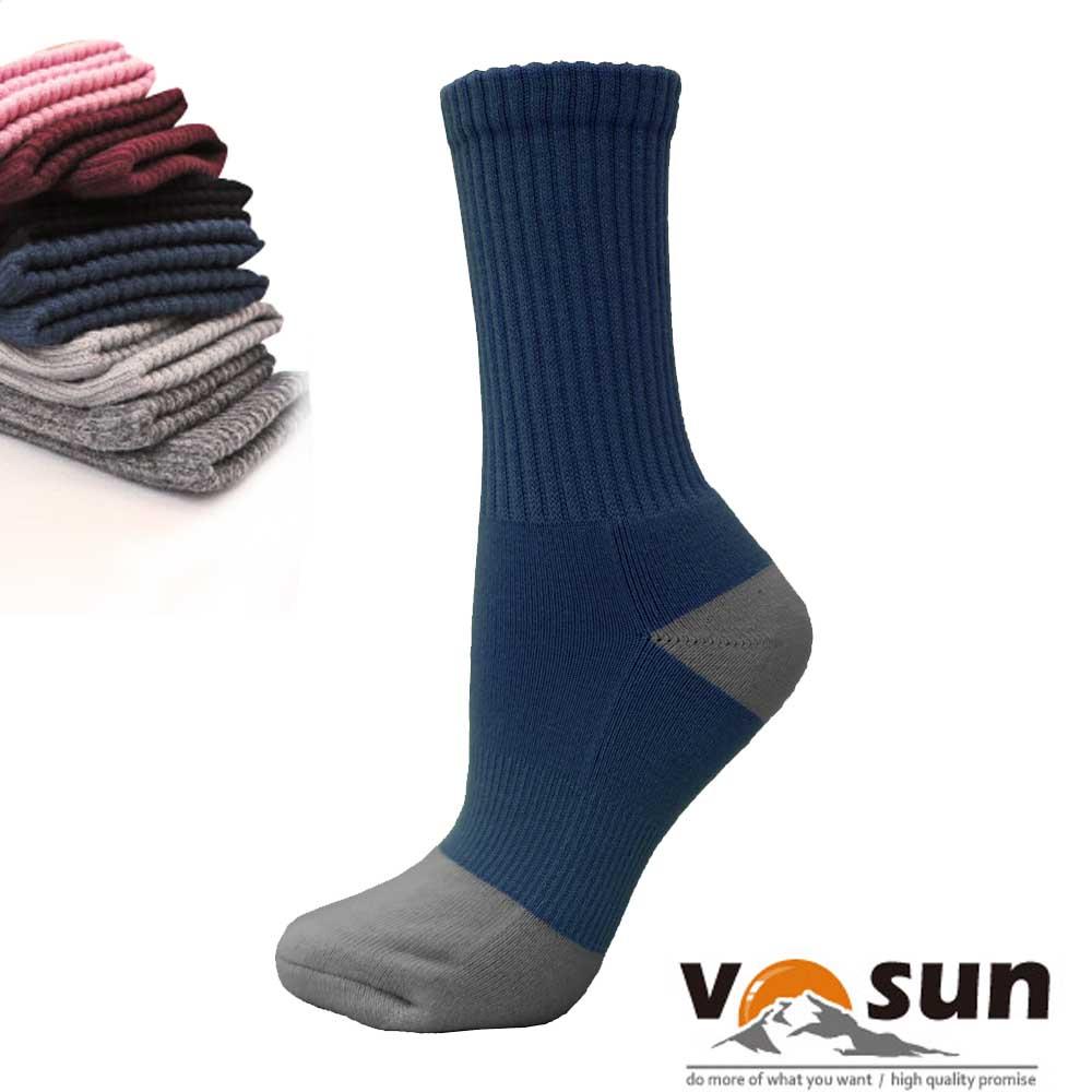 【台灣 VOSUN】 MIT 頂級控溫保暖中筒美麗諾羊毛襪_深藍