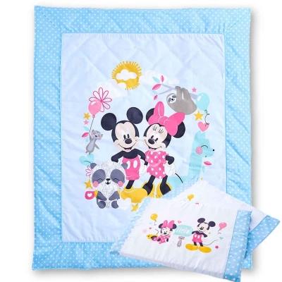 Disney 動物米奇水洗舒適薄被+乳膠平枕(共2色)