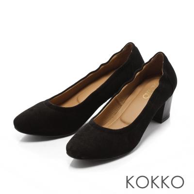 KOKKO-日本彎折工藝復古羊麂皮粗跟鞋-率性黑