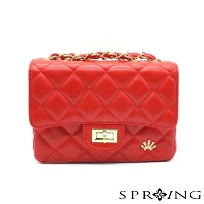 SPRING-浪漫法蘭斯方型菱格鍊帶包-金鍊紅