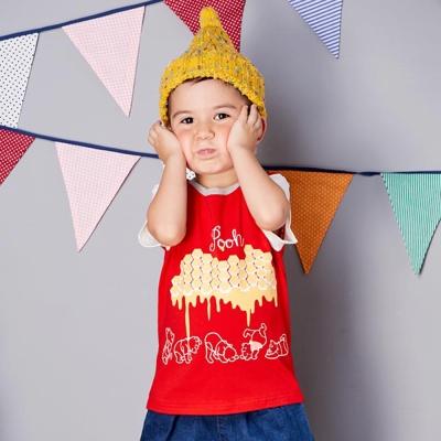 Disney baby 維尼系列焦糖短袖上衣 紅色