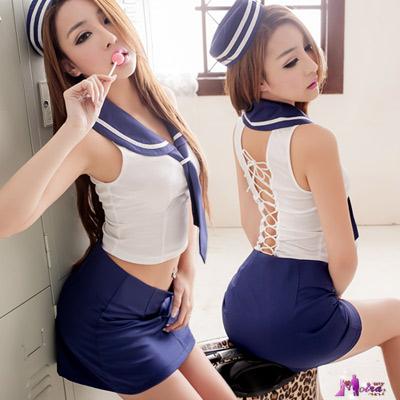 Moira 美背綁帶四件式海軍角色扮演服