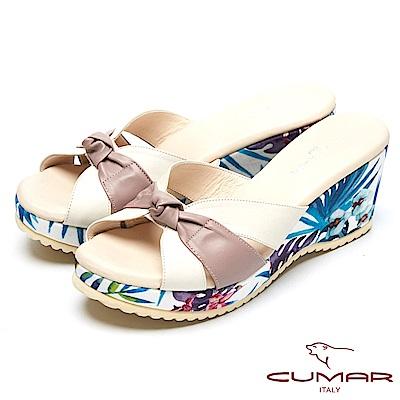 CUMAR艷夏時尚-搶眼色彩搭配厚底台拖鞋-米色