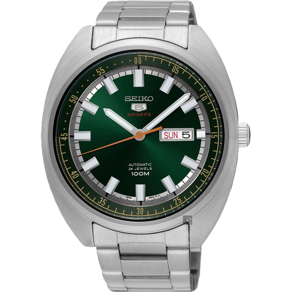 SEIKO精工 5號24石盾牌機械手錶(SRPB13J1)-綠/44mm