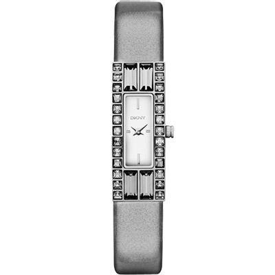 DKNY 延展時尚晶鑽都會仕女皮帶腕錶-鏡面銀/13mm