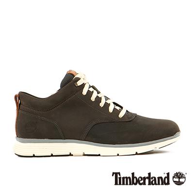 Timberland-男款深灰色素面綁帶皮革中筒鞋