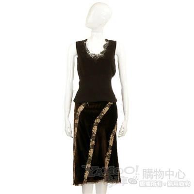 LORELLA咖啡色斜條紋絨裙