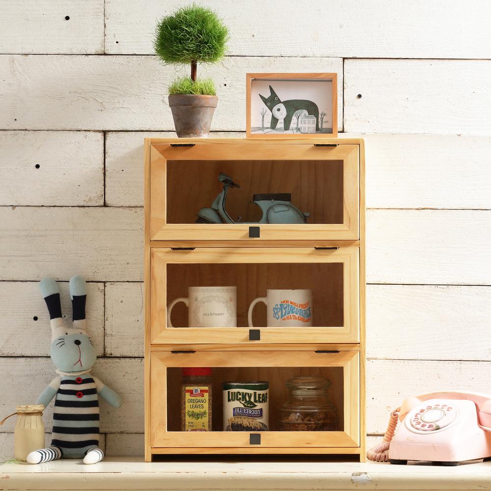 CiS自然行實木家具 三門-咖啡櫥櫃-收納櫃(扁柏自然色)