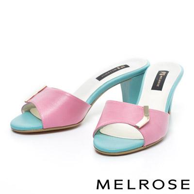 MELROSE-時尚經典布紋牛皮粗跟拖鞋-桃