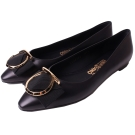 Salvatore Ferragamo EZIA 馬蹄蝴蝶結飾牛皮平底鞋(經典黑)