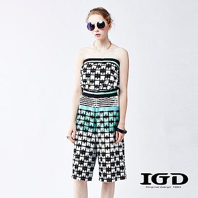 IGD英格麗 幾何印花平口連身五分褲