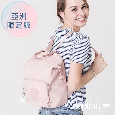 Kipling 後背包 櫻花粉素面-小