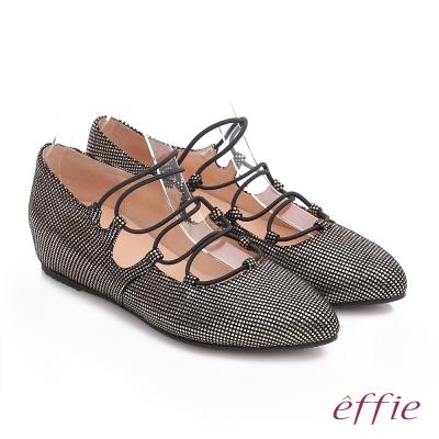 effie 都會舒適 絨面羊皮金箔內增高綁帶鞋 金色