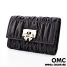 OMC - 韓國可愛貴婦蝴蝶結抓皺牛皮中夾-共4色