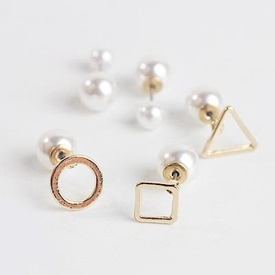 梨花HaNA 韓國雙面幾何遊戲珍珠小耳環