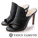 Vince Camuto 抓皺交叉帶魚口高跟鞋-黑色