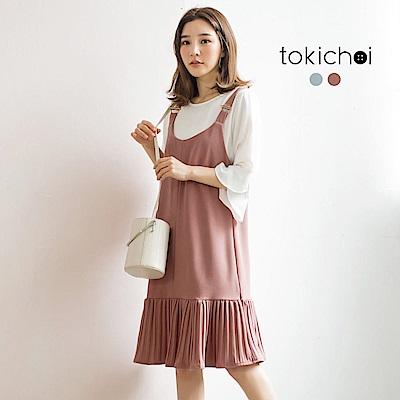 東京著衣 輕甜剪接百褶吊帶洋裝-S.M(共二色)