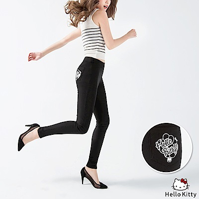 KITTY口袋氣球印花輕刷毛高彈後鬆緊窄管褲.3色-OB大尺碼