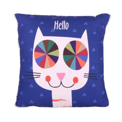 童趣插畫風 舒適兩用棉被抱枕/靠枕/午睡枕 (哈囉貓)