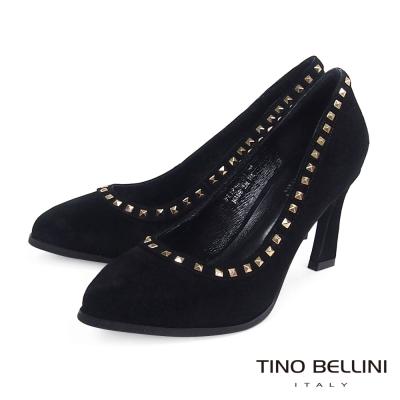 Tino-Bellini-個性時髦鉚釘鑲嵌跟鞋-黑