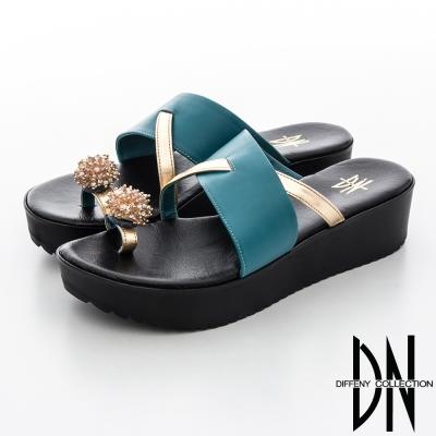 DN 渡假休閒 造型繡球皮飾指環拖鞋-藍