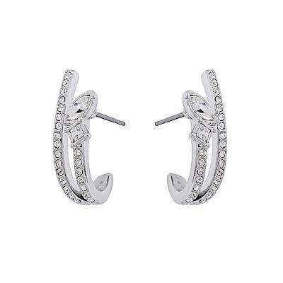 SWAROVSKI 施華洛世奇 HENRIETTA水晶雙環造型銀色耳環