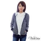 Victoria 繡字連帽休閒外套-女-藍白條