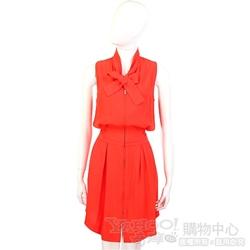 SEE BY CHLOE 橘紅色領結飾拉鍊設計洋裝