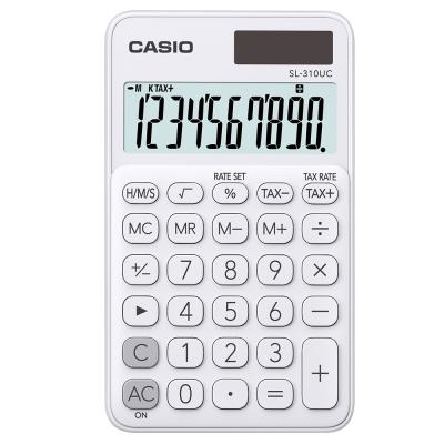 CASIO 10位元甜美馬卡龍輕巧口袋型計算機(SL-310UC-WE)-牛奶白