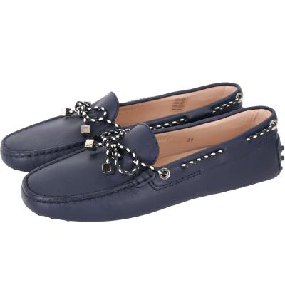 TOD'S Gommino 撞色綁帶豆豆休閒鞋(黑夜藍)