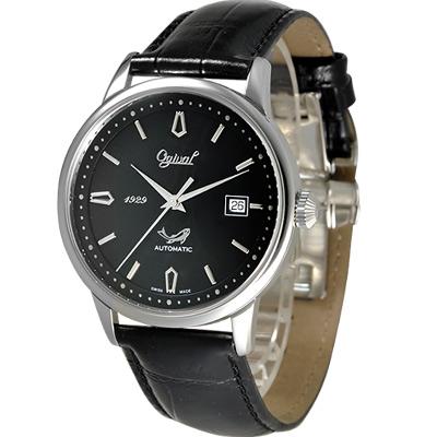 Ogival 五星上將經典自動上鍊機械腕錶-黑/44mm