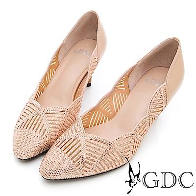 GDC-真皮水鑽波浪交叉奢華跟鞋(婚鞋)-米色